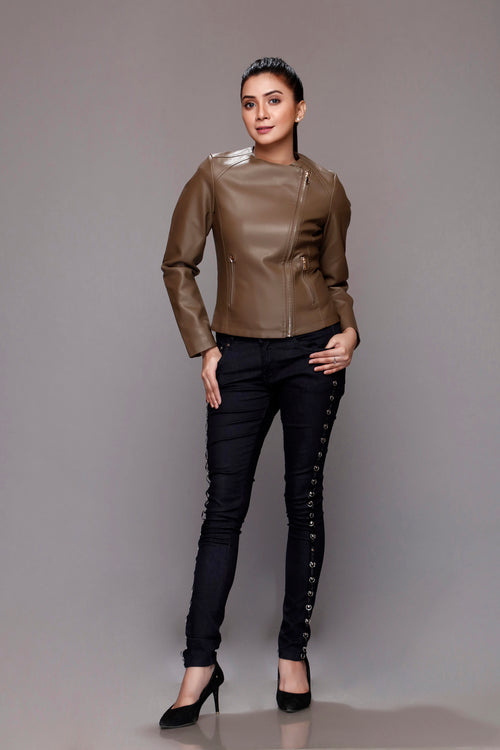 Coco Brown Faux Leather Jacket