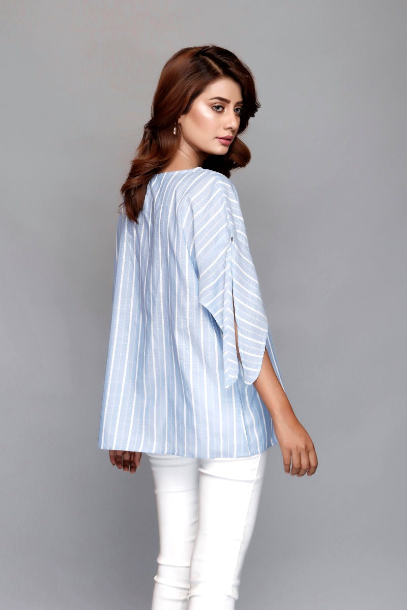 Cut Sleeves sky Top