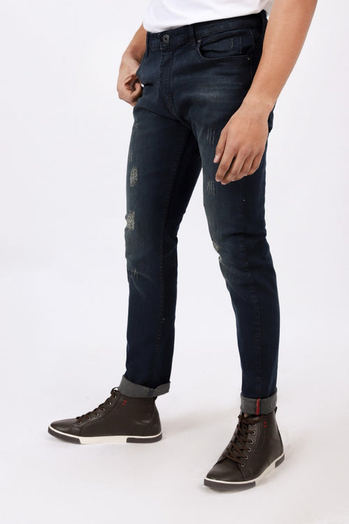 Navy Blue Rugged Jeans