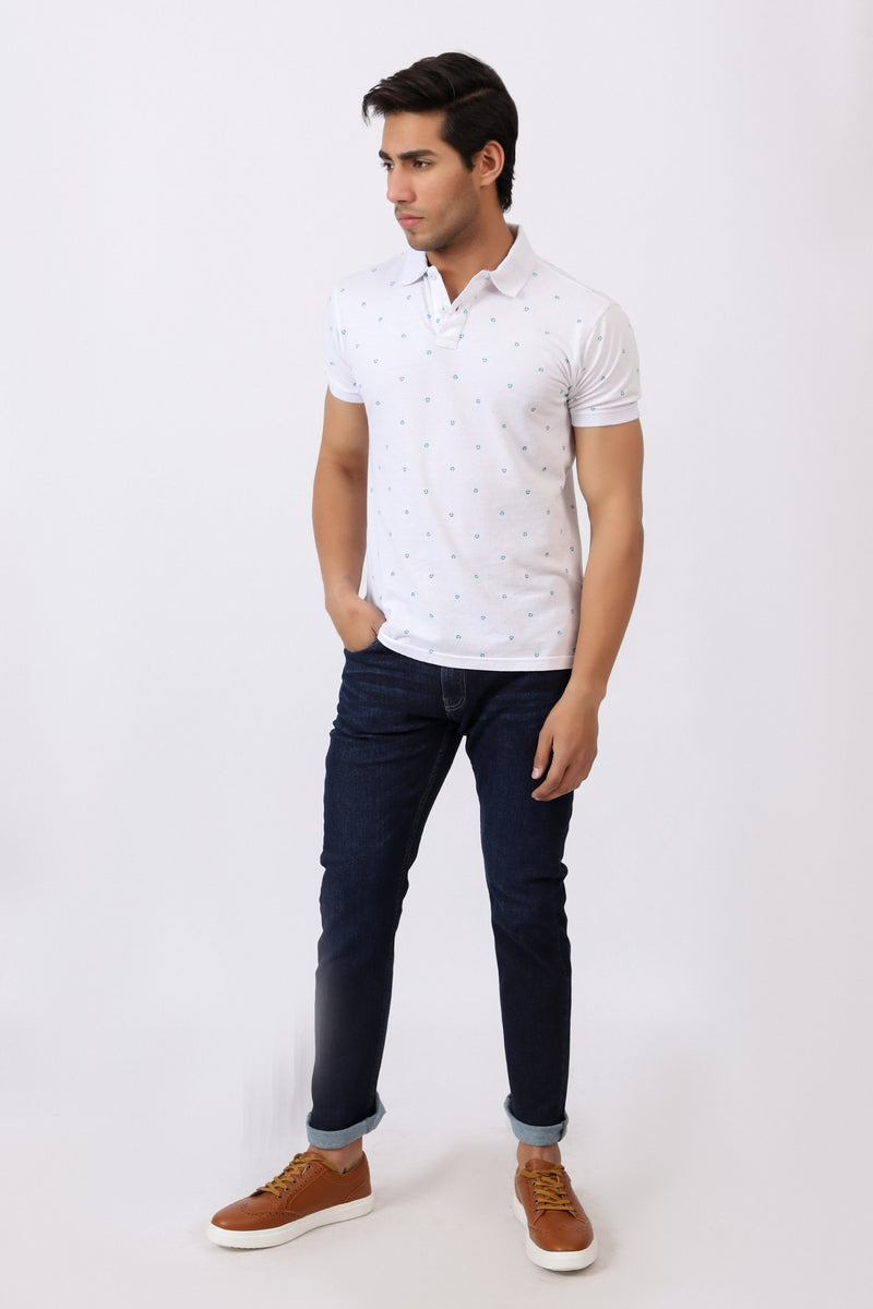 White All Over Printed Polo