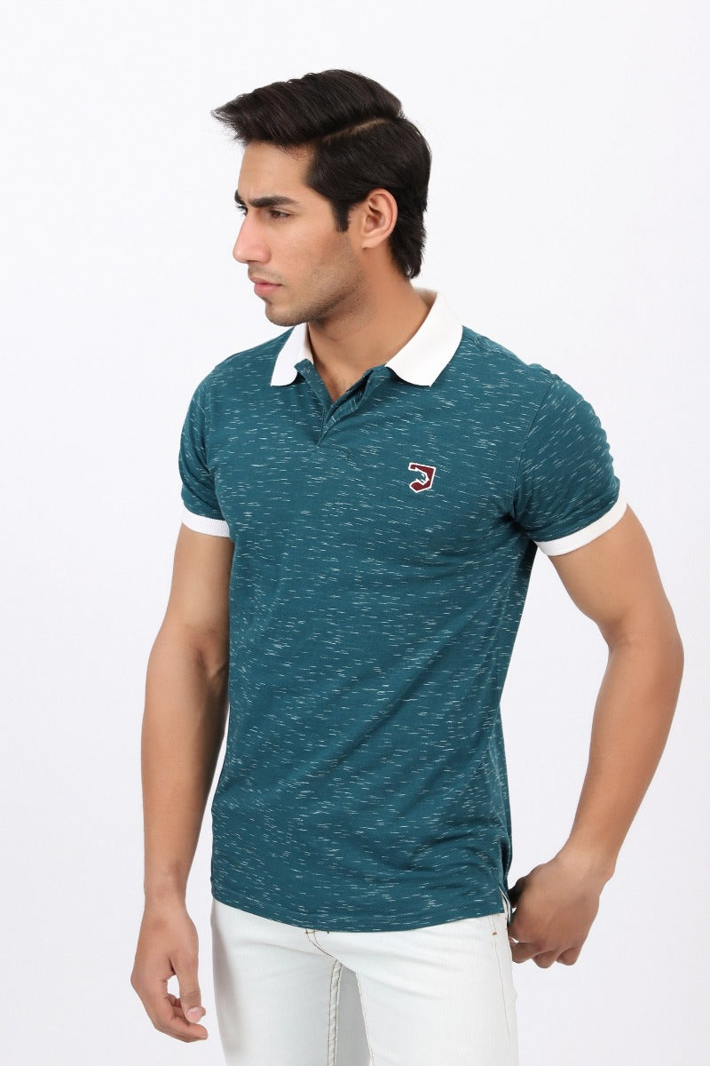 Teal Textured Polo Shirt