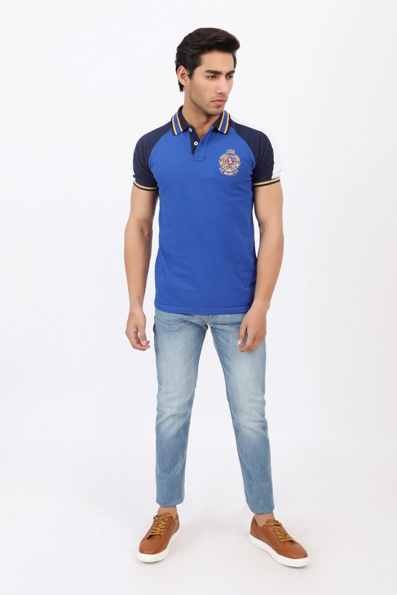 Striped Collar Blue Polo Shirt