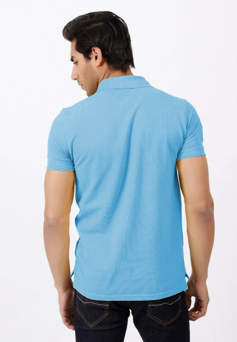 Sky Blue Striped Polo