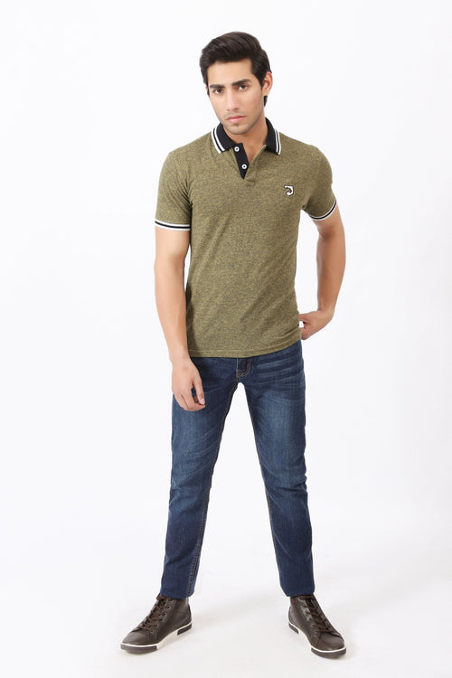 Black Striped Collar Polo Shirt