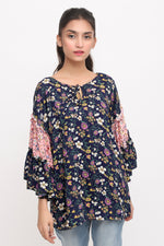 Blue Floral Flared Sleeves Top