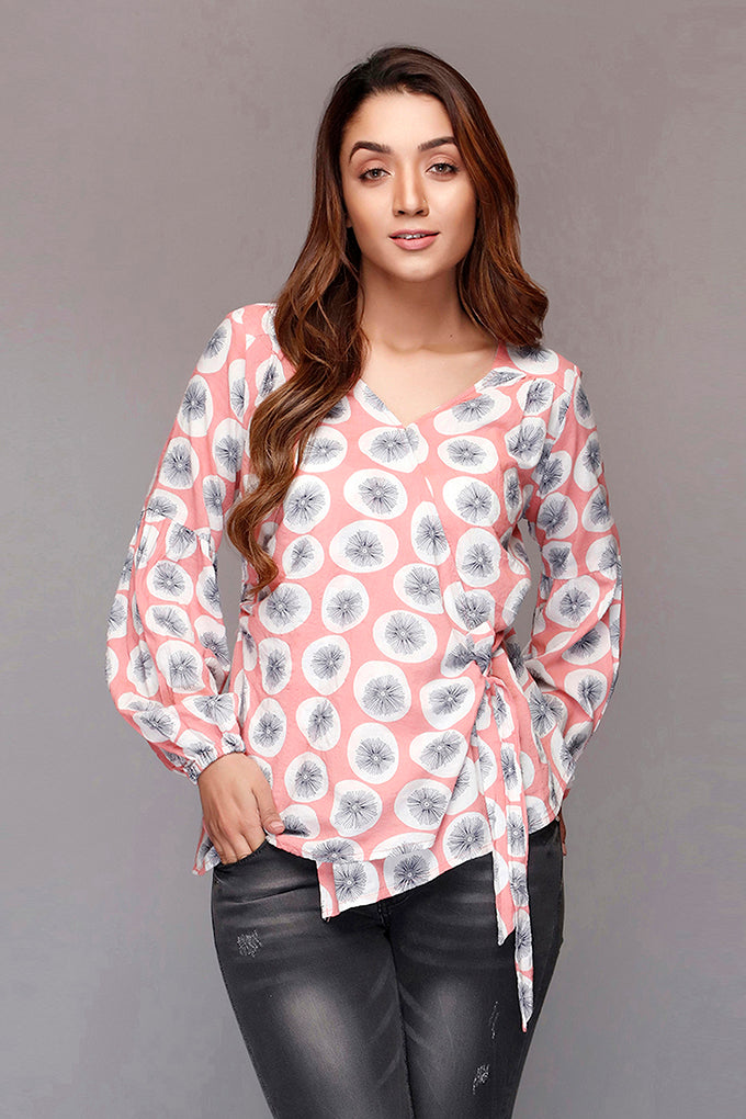 Pink Side Knotted Top