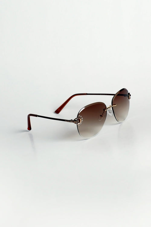 Brown Diamante Sunglasses