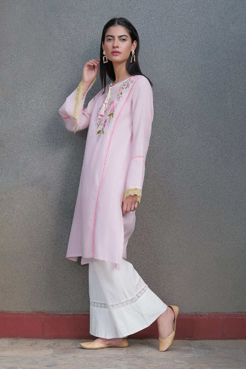 Floral Pink Embroidered Kurti