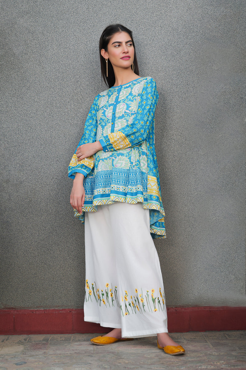 Blue & Yellow Printed Kurti