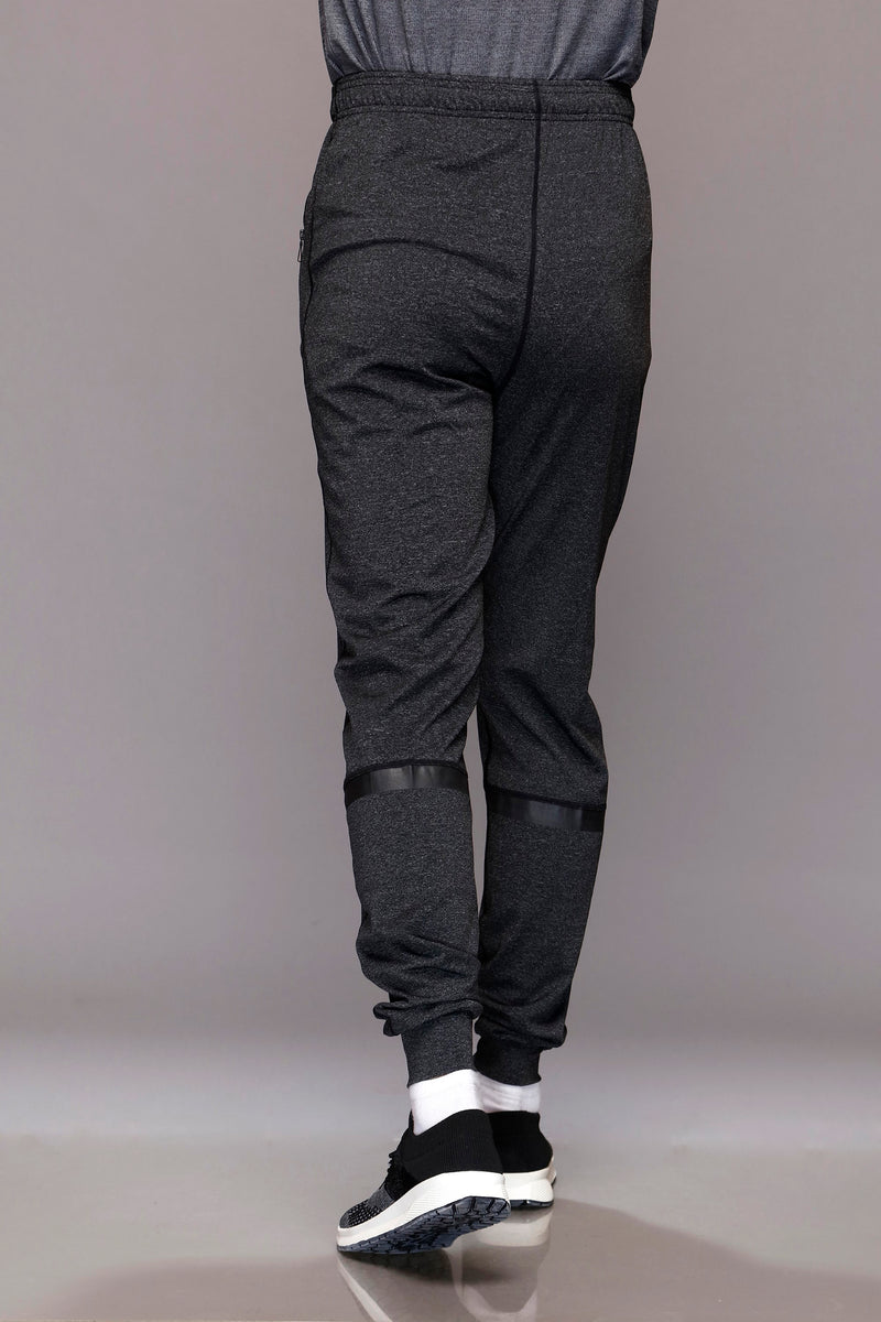 Grey Textured Casual Trousers
