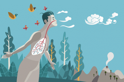 Illustration of a person who''s breathing the air