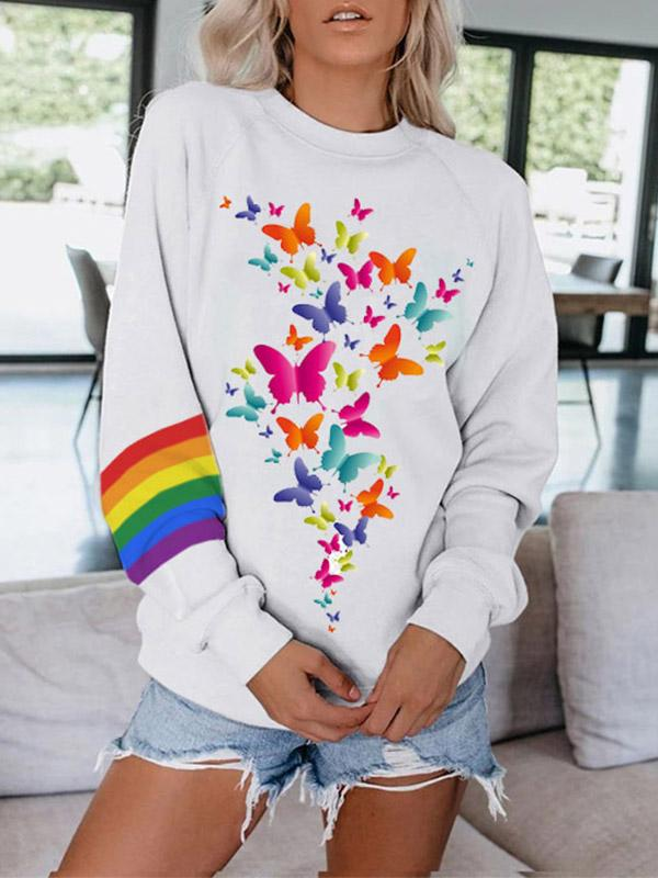 Women's Rainbow Butterfly Print Crew Neck Long Sleeve Sweatshirt