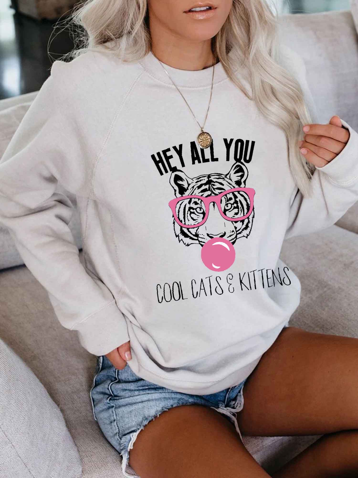 Women's HEY ALL YOU COOL CATS & KITTENS Pink Glasses Tiger Print Sweatshirt
