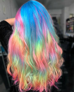 ( 🔥HOT) RAINBOW COLORS WIGB WAVE WIG 100%  HUMAN HAIR