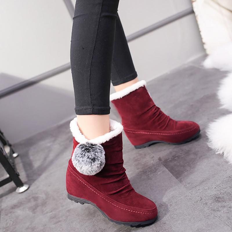 Women Suede Hairball Round Toe Wedges Shoes