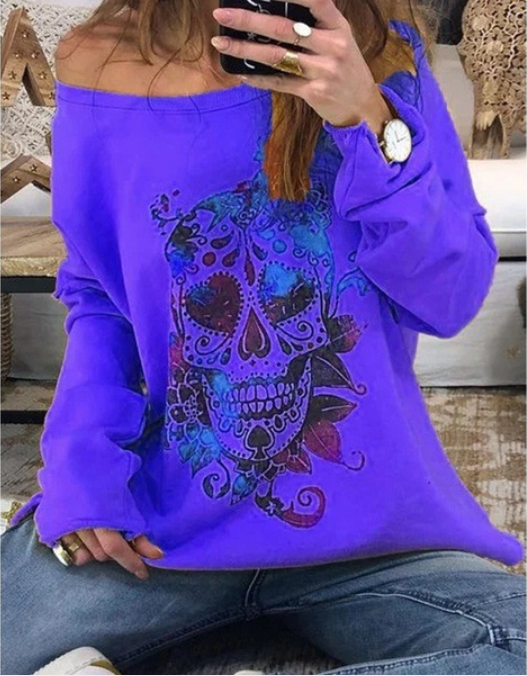 Ladies' Printed Long Sleeve Turtleneck Sweater