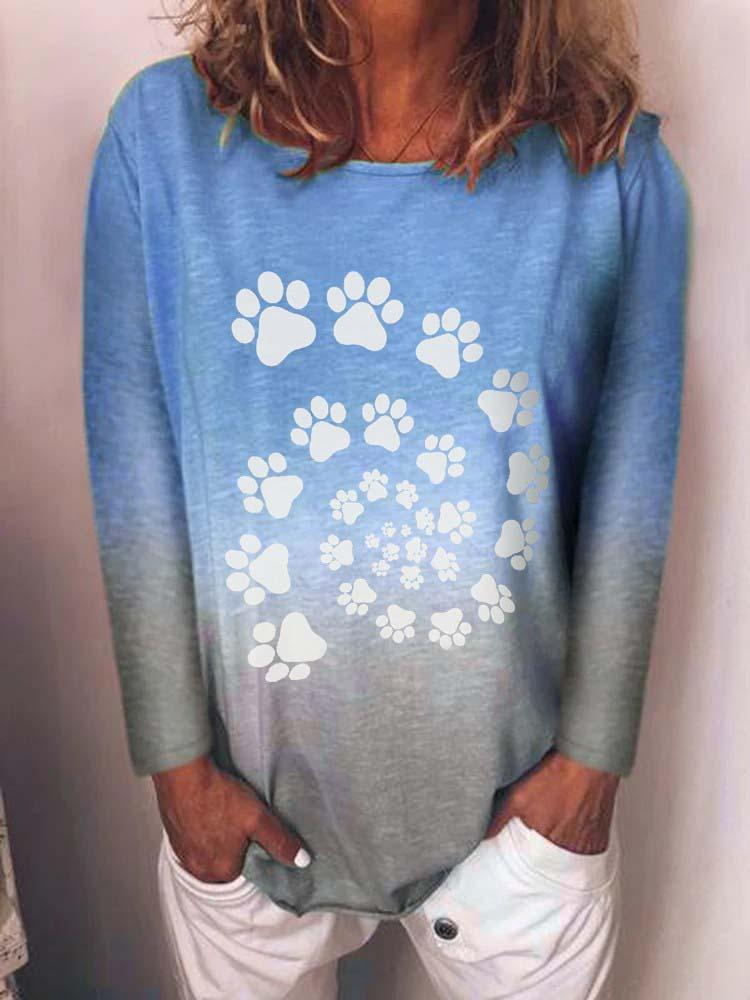 Dog Paws Print Tie Dye Top