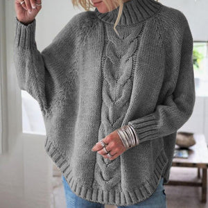 High Neck Cable Knit Rounded Hem Sweater
