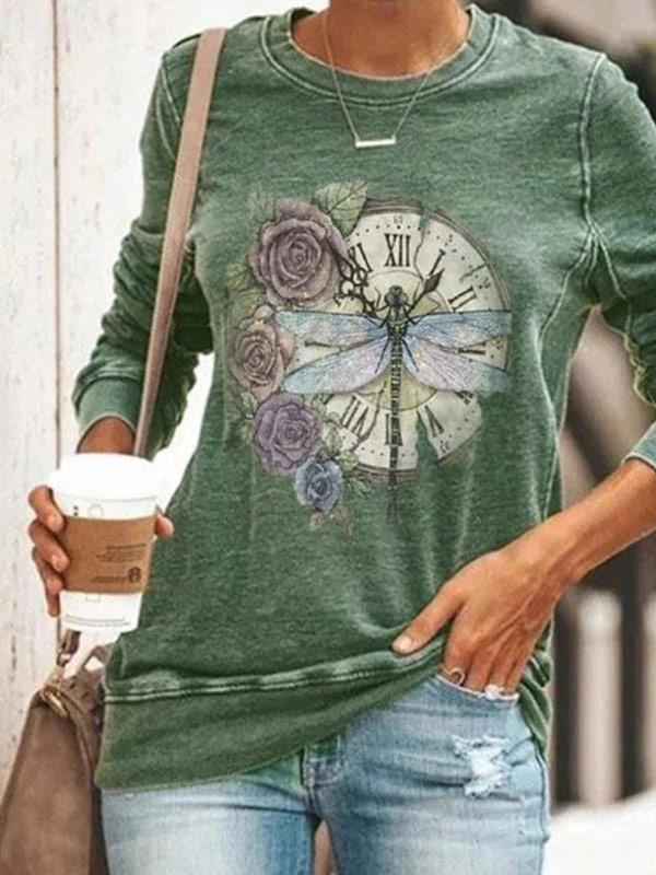 Ladies dragonfly clock print crew neck sweatshirts