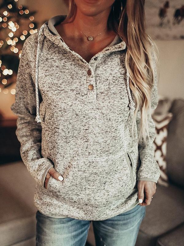 Button Down Hooded Sweatshirt