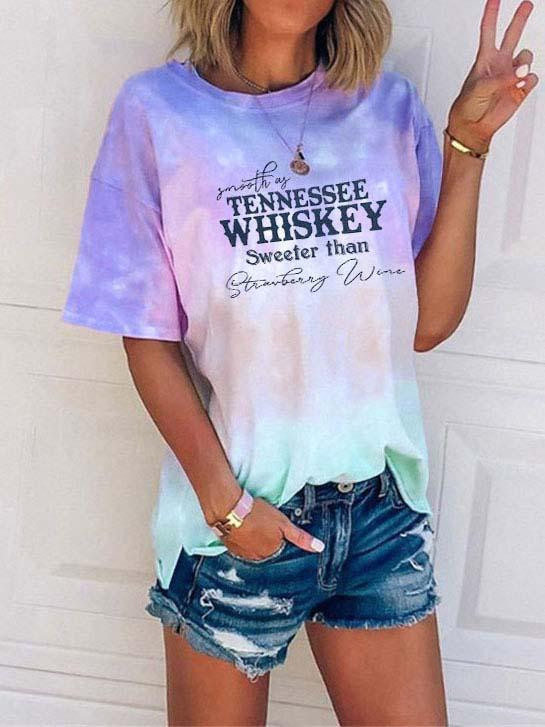 Smooth As Tennessee Whiskey And Sweet As Strawberry Wine Tie Dye T-shirt