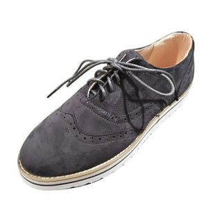Women's flat suede casual shoes round toe
