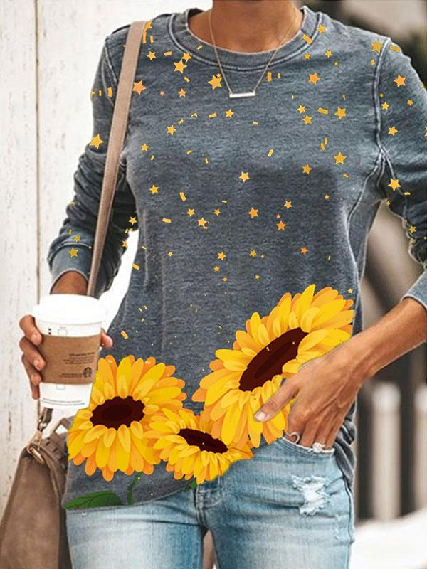 Ladies Sunflower Star Print Round Neck Sweatshirt