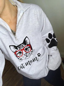 Women's Cat Mom Print Zip Top