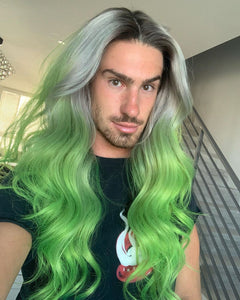 (✨NEW)  GRADIENT GREEN COLORSHAIR WAVE WIGB 100% HUMAN HAIR