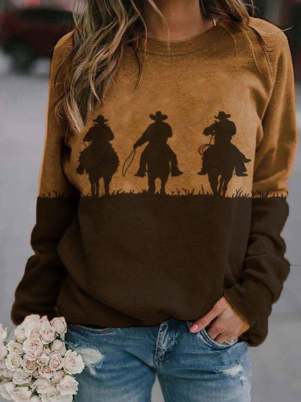 Ladies western style riding silhouette crew neck sweatshirts