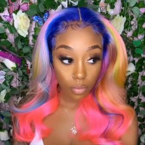 (🔥HOT) CUSTOM MIXED PINK COLOR HUMAN HAIR FULL LACE HUMAN HAIR WIG
