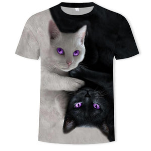 3D Printed O-Neck Cats T-shirt(Free Shipping)