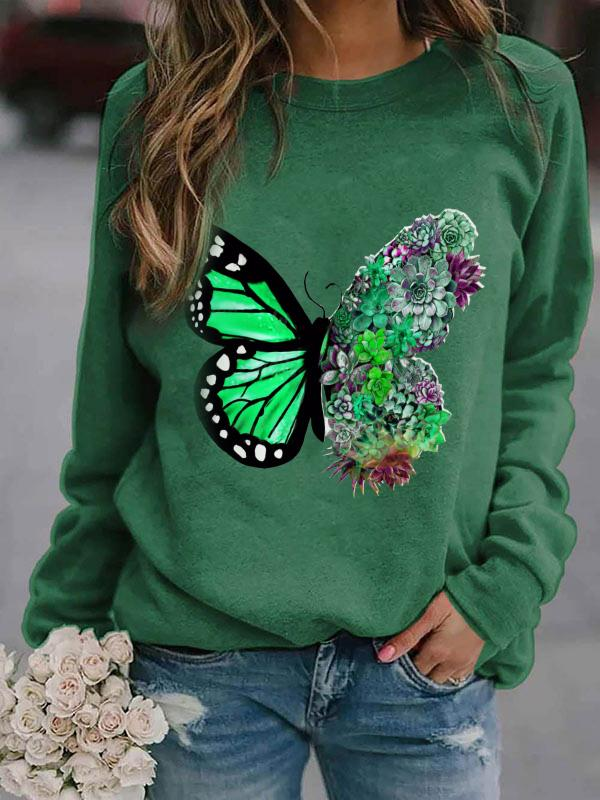Women's Butterfly Floral Print Long Sleeve Sweatshirt