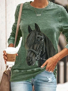 Ladies horse print crew neck sweatshirt