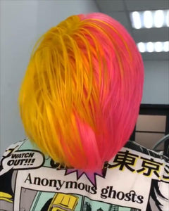 (✨NEW) YELLOW MIXED RED COLORS  HAIR WIG PERUVIAN BOB WIG