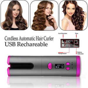Auto Ceramic Wireless Curling Iron Hair Waver Tongs Beach Waves Iron Curling Wand Air Curler USB Cordless Automatic Hair Curler