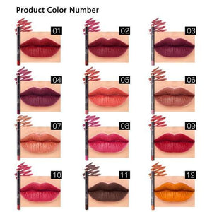 PUDAIRE™ 12 Colors Lip Liner Pencil Waterproof