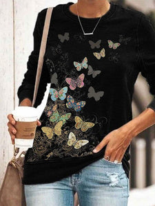 Ladies butterfly print crew neck sweatshirt