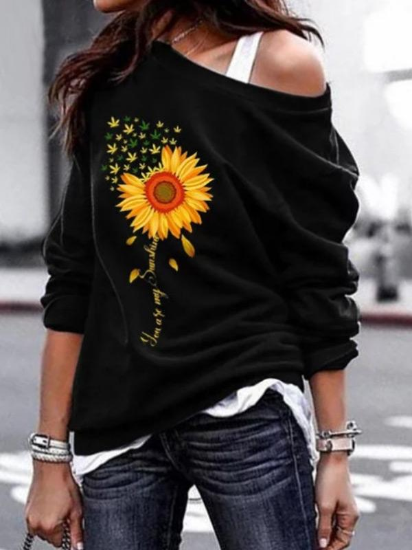Women's wild sunflower print round neck sweater