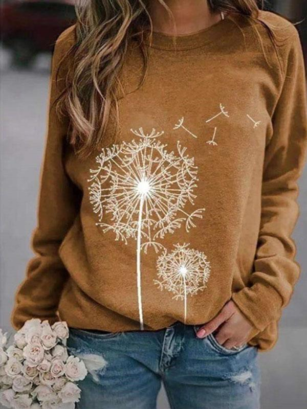Women's Dandelion Print Round Neck Long Sleeve Loose Sweatshirt