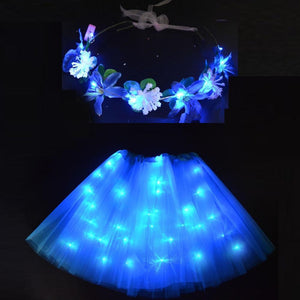 Sunflower.888 Glow Party Supplies Blue Set / For Teenage or Women Fairy Girl™ - LED Tutu with Glowing Flower Garland