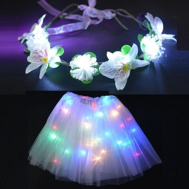 Sunflower.888 Glow Party Supplies White Set / For Teenage or Women Fairy Girl™ - LED Tutu with Glowing Flower Garland