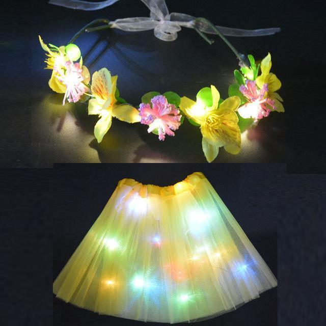 Sunflower.888 Glow Party Supplies Yellow Set / For Teenage or Women Fairy Girl™ - LED Tutu with Glowing Flower Garland