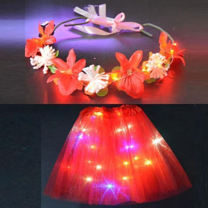 Sunflower.888 Glow Party Supplies Red Set / For Teenage or Women Fairy Girl™ - LED Tutu with Glowing Flower Garland