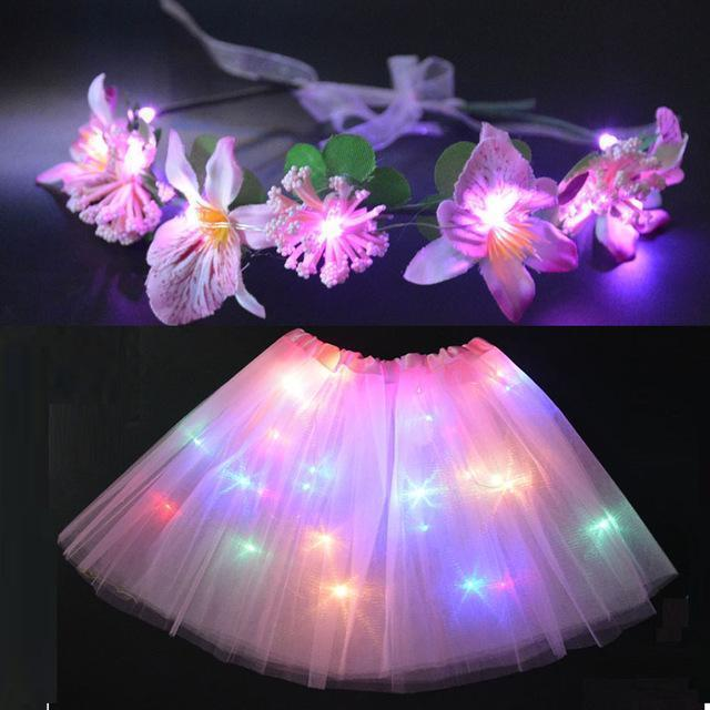 Sunflower.888 Glow Party Supplies Pink Set / For Teenage or Women Fairy Girl™ - LED Tutu with Glowing Flower Garland