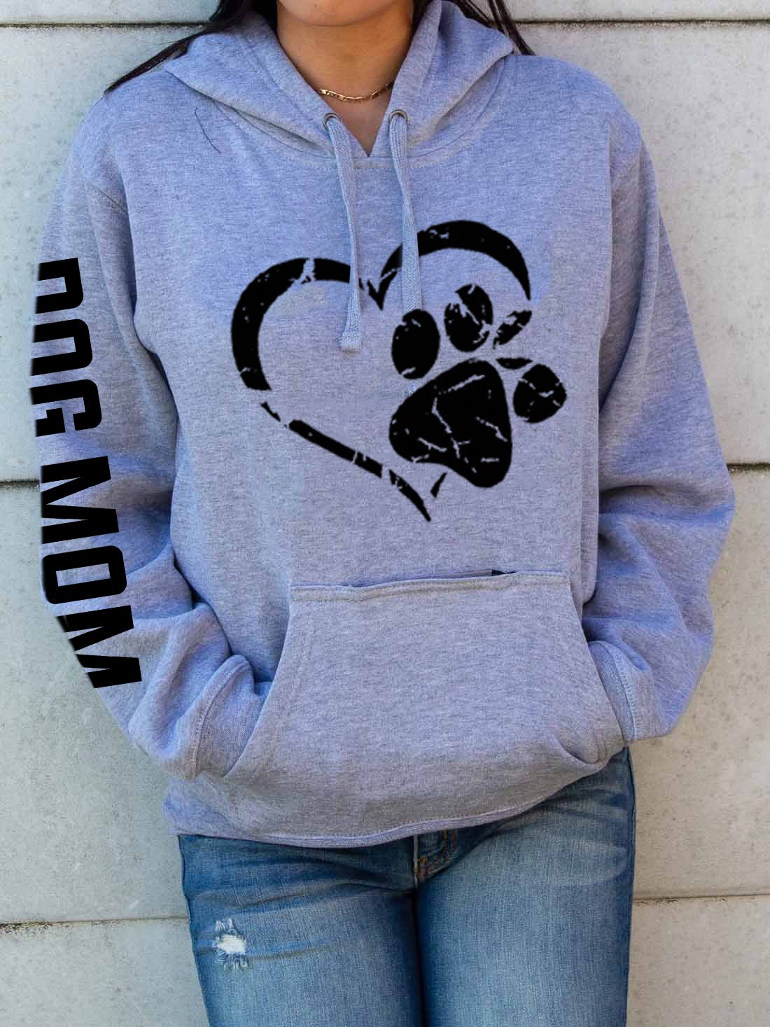 DOG MOM Paw Print Hoodies With Pocketed