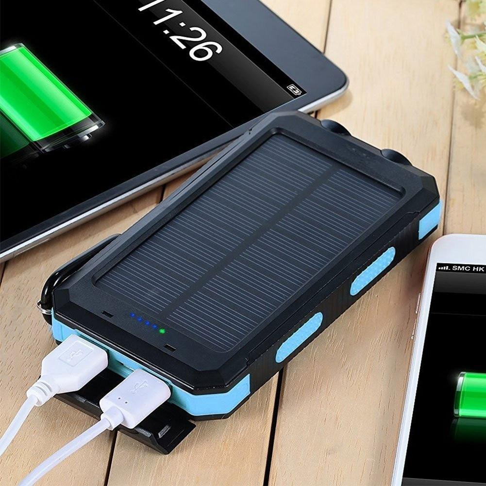 Waterproof Solar Power Bank 20000 mAh Dual USB External Polymer Battery Charger With Outdoor Flashlight