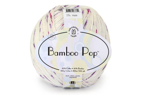 Universal Yarn Bamboo Pop. A plied yarn in a  blend of Cotton and Bamboo .