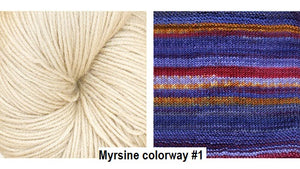 Myrise Cowl Kit. A Drop Ship Kit knitted with Urth Yarn uneek and Harvest Fingering.