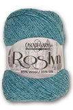 Roslyn Yarn from Cascade Yarns. A DK  Tweedy yarn blended from Wool and Silk in solid colors.